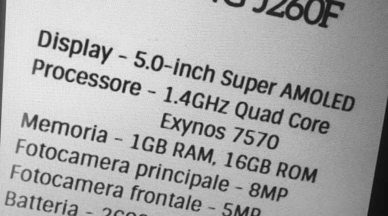 Samsung Android Go device (SM-J260F) spec sheet leaked